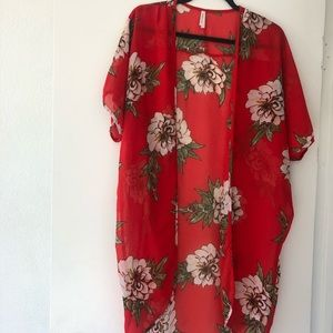 Floral Kimono in red